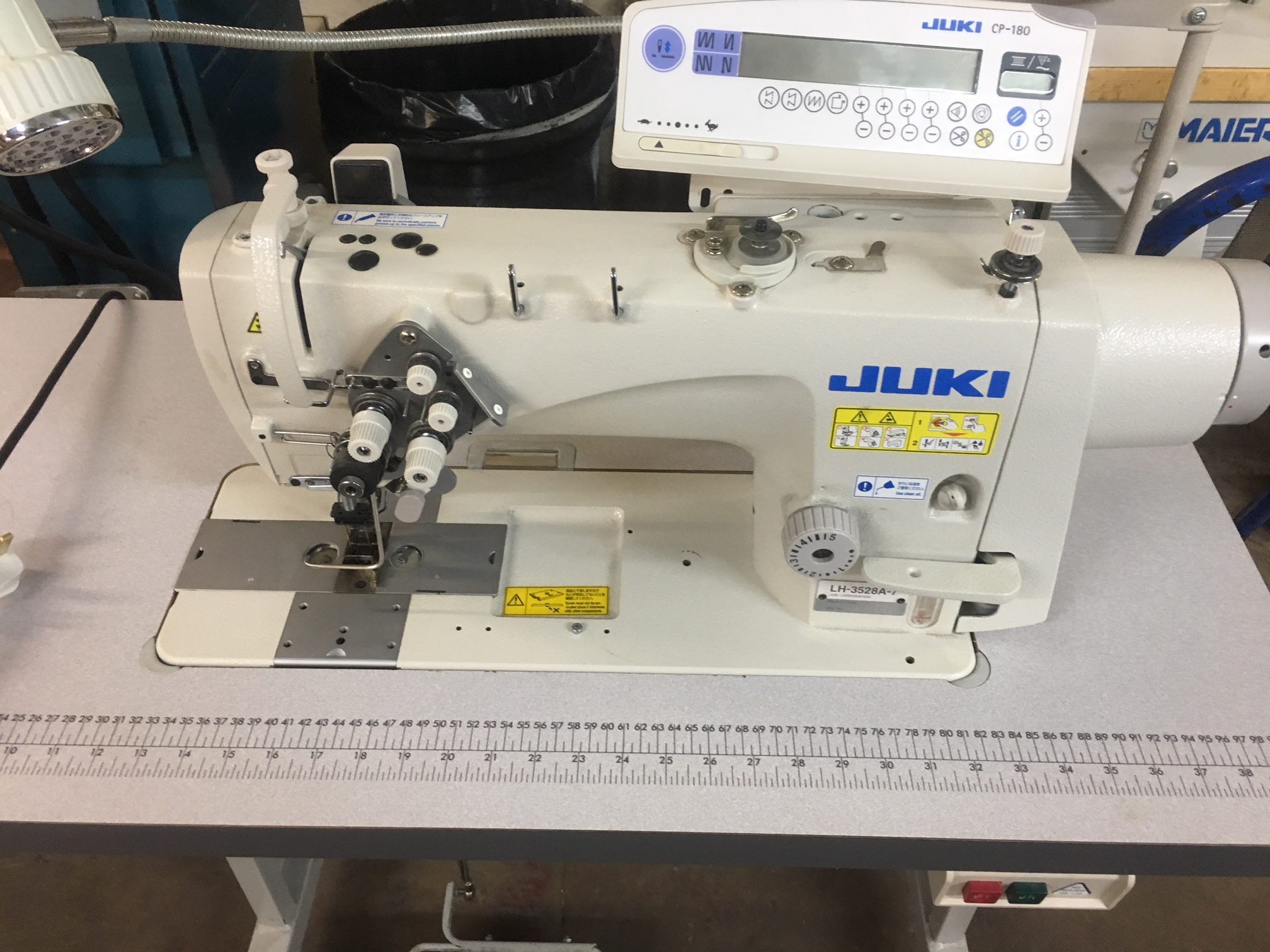 Juki LH-3528A-7 direct drive twin needle lockstitch with thread trimmers